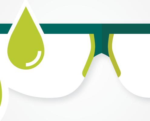 Illustration of liquid spraying safety goggles