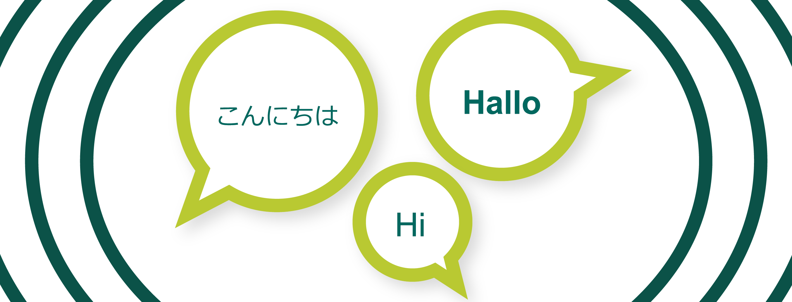 "Illustration of three speech bubbles with ""hello"" in different languages."