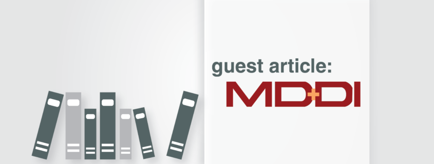 "Illustration with the phrase ""guest article"" above MD+DI logo"