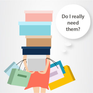 Illustration of woman struggling with shopping bags.