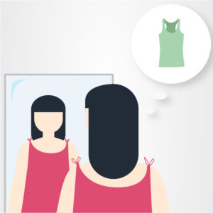 Illustration of woman looking into a mirror and thinking about another piece of clothing.