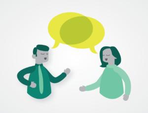 Illustration of two cartoon people talking