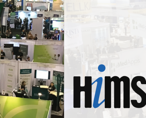 HIMSS logo with photograph of convention center