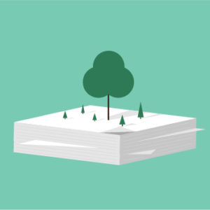Illustration of trees on top of a stack of paper
